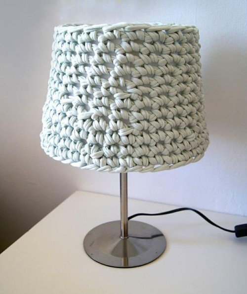 10 Fabulous DIY Ways to Recycle Old Tees - t shirt Knotted Lampshade tutorial