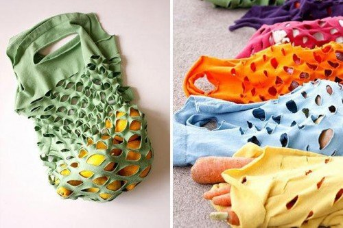 10 Fabulous DIY Ways to Recycle Old Tees - t shirt Produce Bag tutorial