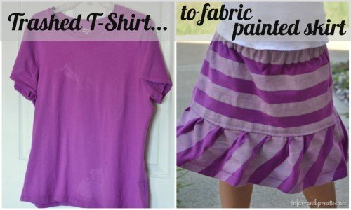 10 Fabulous DIY Ways to Recycle Old Tees - t shirt into skirt tutorial