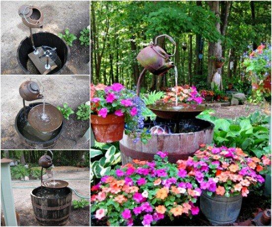 20 Fabulous Art DIY Garden Projects for This Spring - DIY Teapot Fountain Tutorial