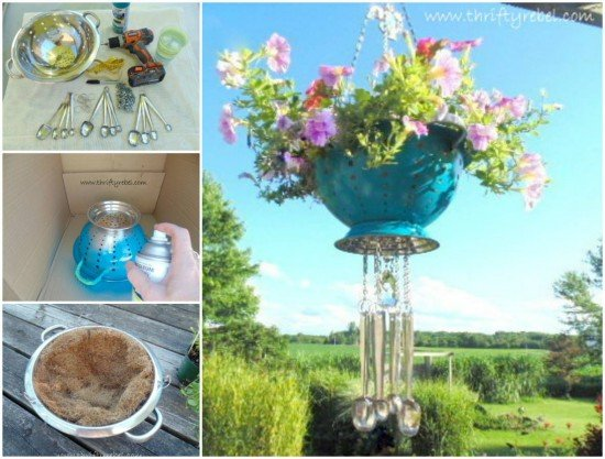 20 Fabulous Art DIY Garden Projects for This Spring - DIY Wind Chime Colander Planter tutorial