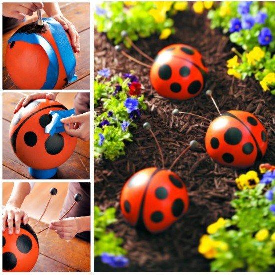 20 Fabulous Art DIY Garden Projects for This Spring - DIY bowling ball garden art ladybug tutorial