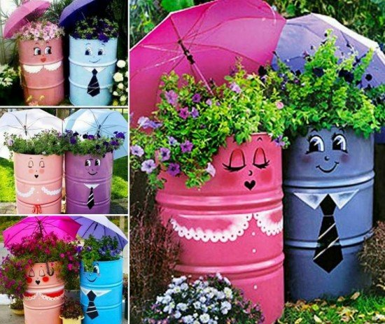 20 Fabulous Art DIY Garden Projects for This Spring - DIY upcycled metal drum planters