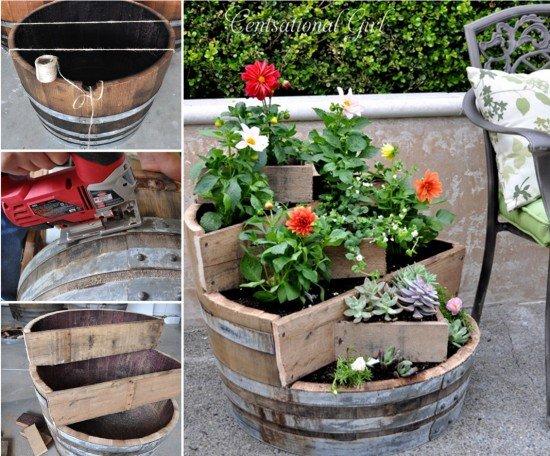 20 Fabulous Art DIY Garden Projects for This Spring - DIY wine barrel planter tutorial