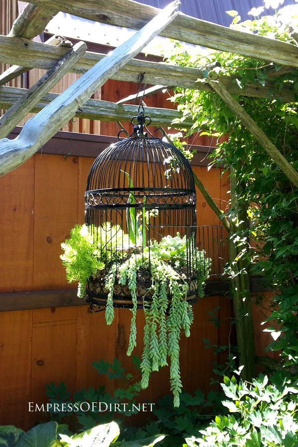 20 Fabulous Art DIY Garden Projects for This Spring - birdcage planter