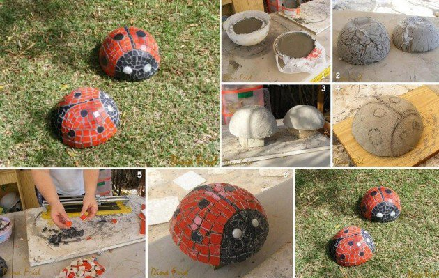 20 Fabulous Art DIY Garden Projects for This Spring - diy mosaic ladybug
