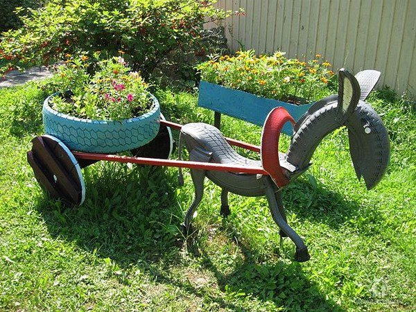 20 Fabulous Art DIY Garden Projects for This Spring - donkey tire art