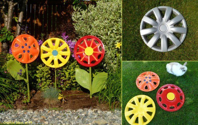 20 Fabulous Art DIY Garden Projects for This Spring - hubcap garden art