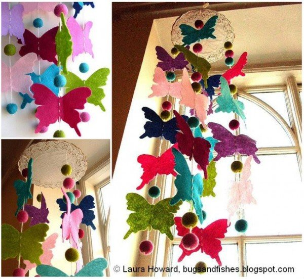 DIY Colorful Felt Butterfly Mobile Tutorial
