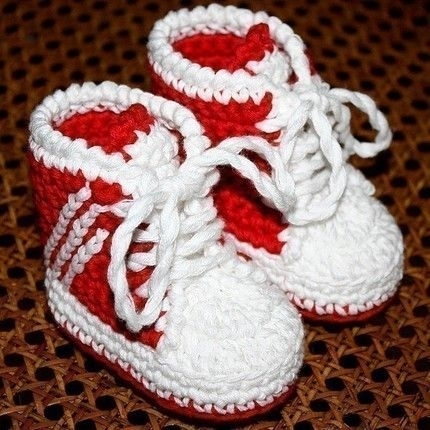 Crochet Adidas Baby High Top Sneakers Free Pattern