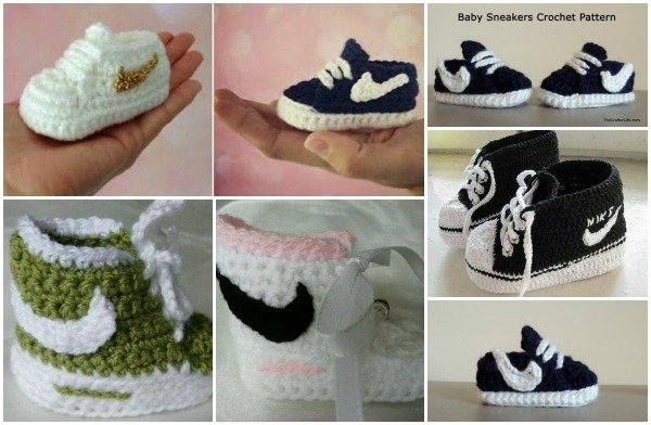 Crochet Nike Inspired Baby Booties Sneakers Free Patterns