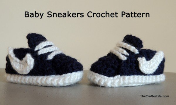 Crochet Nike Inspired Baby Booties free pattern