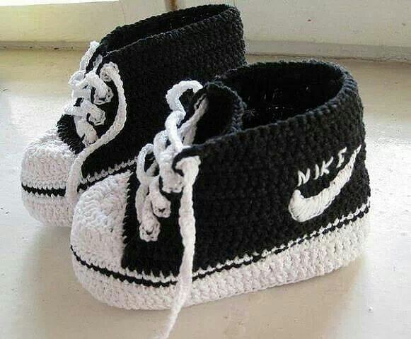 Crochet Nike Inspired Baby Booties Sneakers Free Patterns