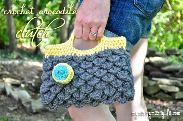 Crochet Crocodile Stitch Handbag Purse Free Pattern