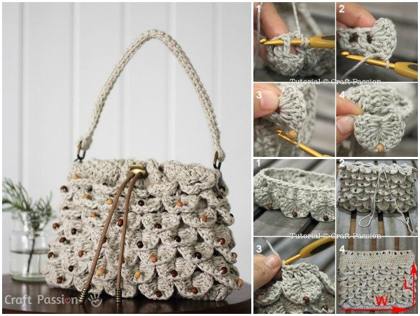 Crochet crocodile stitch drawstring leafy purse free pattern