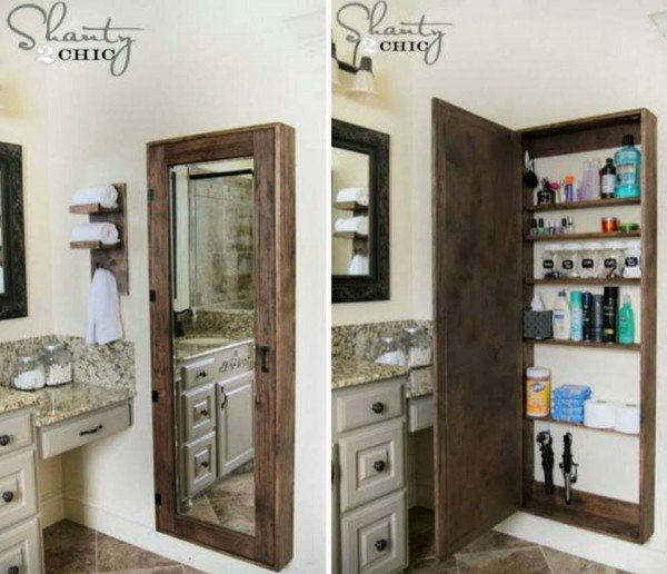 How to DIY Bathroom Wall Mirror Storage Case Tutorial
