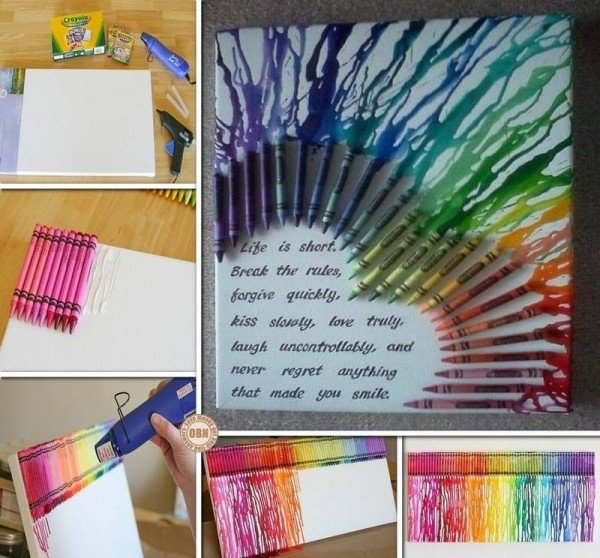 Diy Canvas Wall Art Ideas And Tutorials   Multicolored Heart With Melted  Crayons