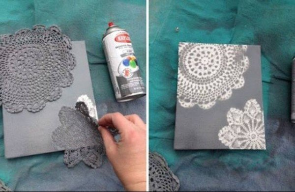 diy canvas wall art ideas and tutorials doily canvas art