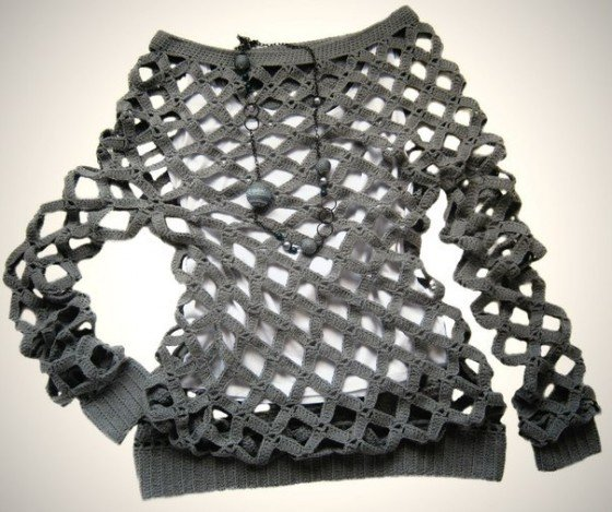 DIY Crochet Diamond Open Weave Net Sweater Free Pattern and Video tutorial