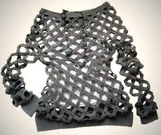 Crochet Net Tunic Sweater Free Pattern Video