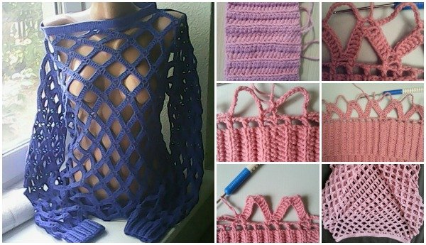 DIY Crochet Net Sweater Free Pattern