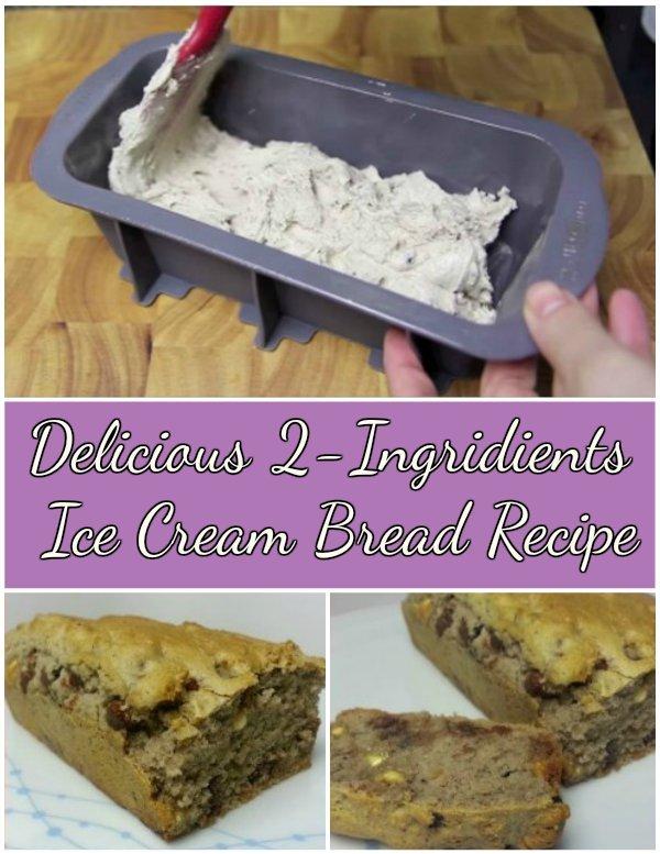 DIY Delicious 2-Ingridients Ice Cream bread Recipe with video tutorial