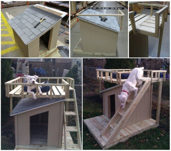 How to make Dog House With Roof Top Deck Tutorial