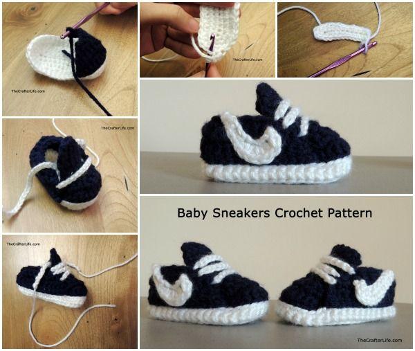 DIY Nike Inspired Crochet Baby Sneakers Free Pattern and Tutorial