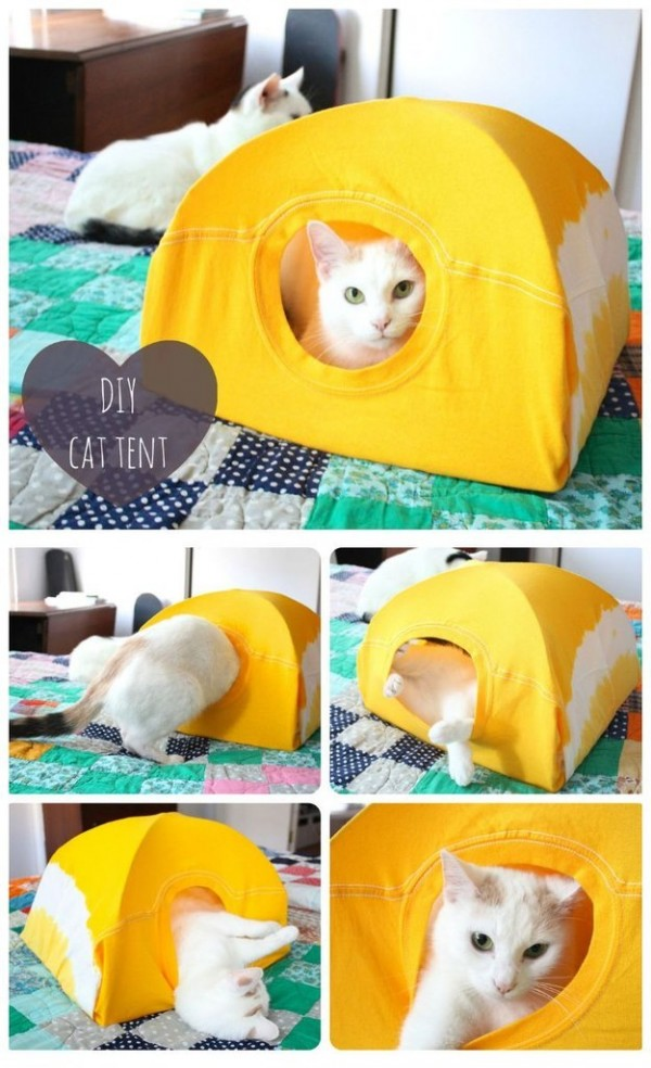 DIY No Sew Cat Tent from T-shirt