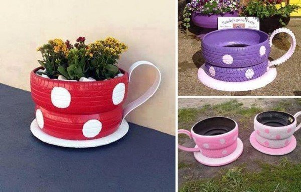 DIY Tire Teacup Planter! What a great way to upcycle old tires!