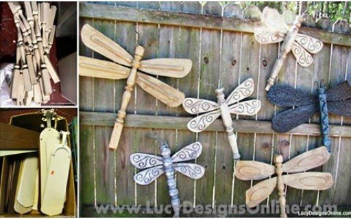 DIY gorgeous Dragonflies garden decor art using Table Legs and Ceiling Fan Blades