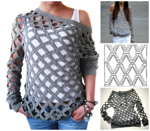 Crochet Net Tunic Sweater Free Pattern Video
