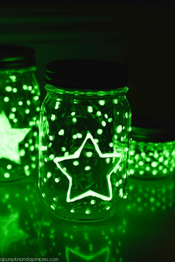 These DIY glow-in-the-dark mason jars are perfect for a summer party or camp activity.