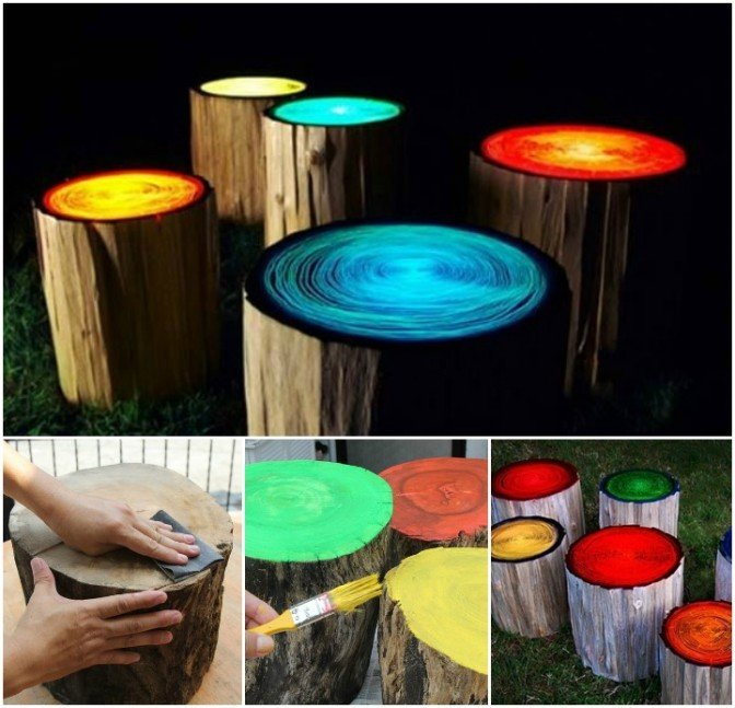 Glowing In the Dark Log Stools DIY Tutorial