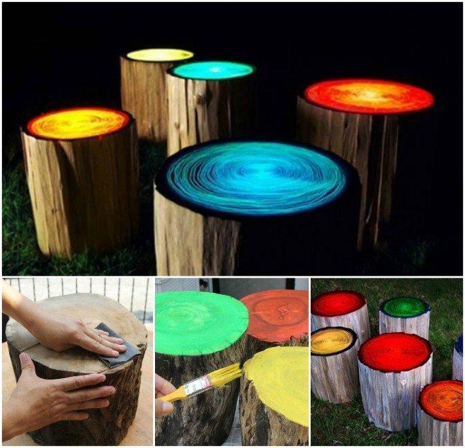 Glowing in the dark log stools diy tutorial fab art diy for Glow in the dark diy ideas