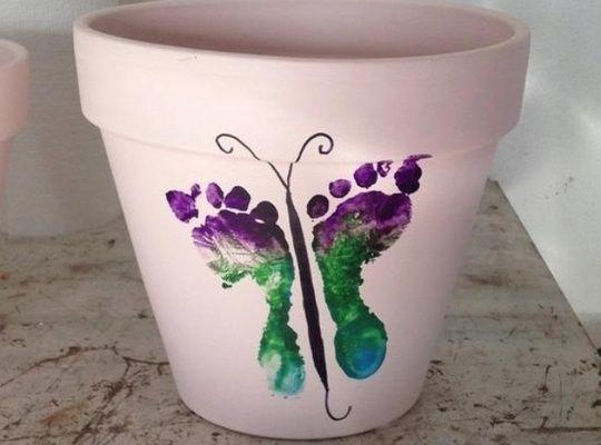 Hand & Footprint Art DIY Ideas and Projects - How to Make a Footprint Butterfly Flower Pot tutorial