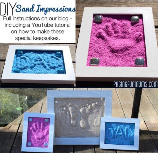 Hand & Footprint Art DIY Ideas and Projects - How to make a sand impression keepsake tutorial