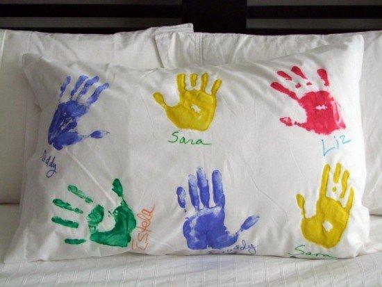 Hand & Footprint Art DIY Ideas and Projects- diy Hand Print Pillow Case Tutorial