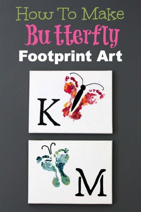 Hand & Footprint Art DIY Ideas and Projects - diy footprint butterfly wall art canvas tutorial