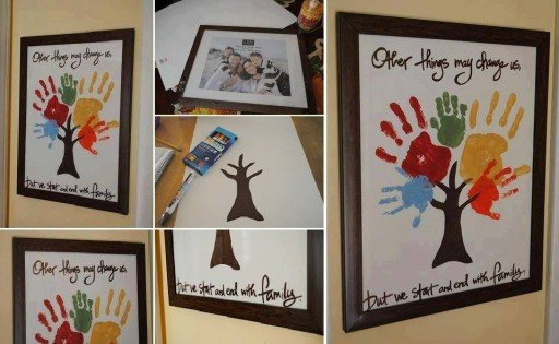 Hand & Footprint Art DIY Ideas and Projects - diy handprint tree wall art canvas tutorial