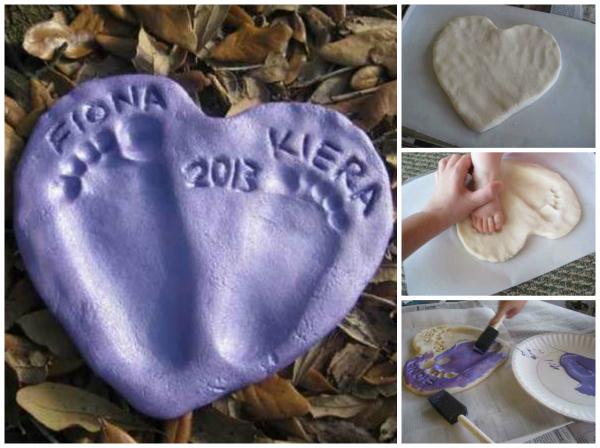 Hand & Footprint Art DIY Ideas and Projects. How to DIY salt dough heart footprints tutorial