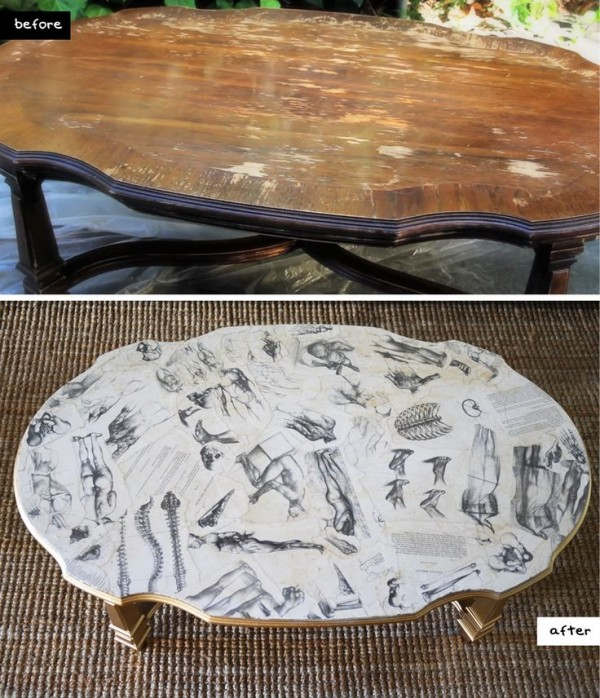 How to DIY Decoupaged Coffee Table tutorial with video