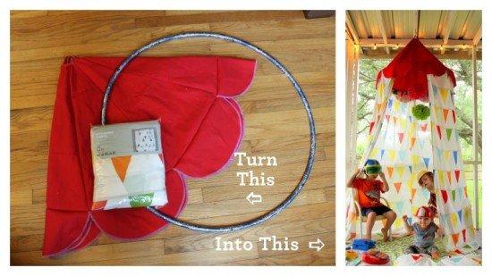 How to DIY Hula Hoop Teepee Tent tutorial & Outdoor Teepee Playhouse DIY Projects