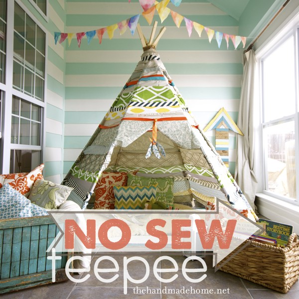 Outdoor Teepee Playhouse DIY Projects and Tutorials - No Sew Teepee