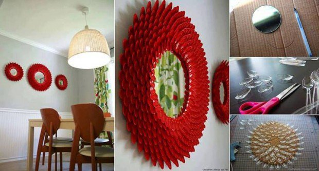 DIY Decorative Plastic Spoon Mirror