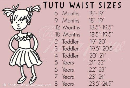 DIY tutu skirt waist sizes chart