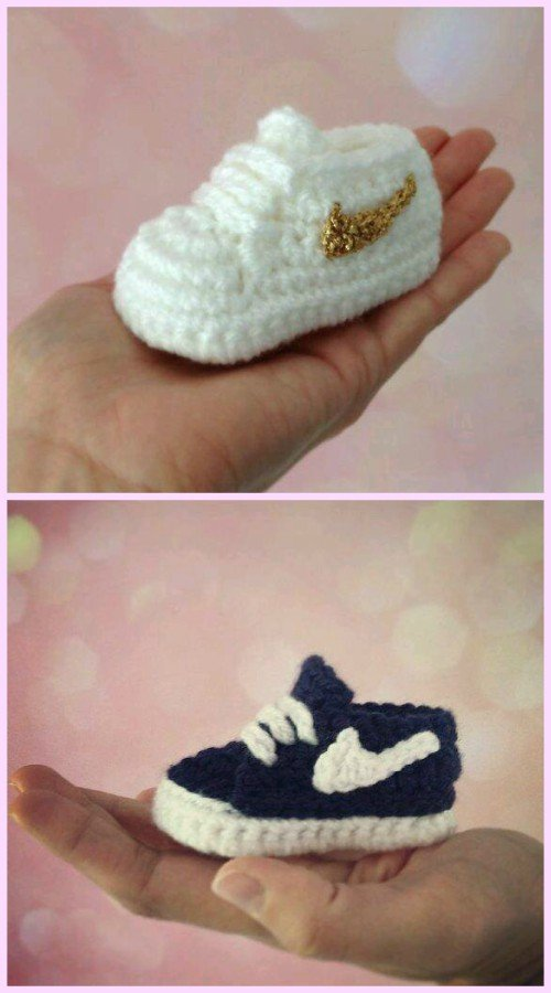 560e23ca5 Crochet Nike Inspired Baby Booties Sneakers Free Patterns