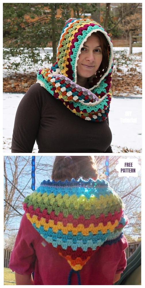 DIY Harlequin Granny Crochet Hooded Cowl Free Pattern