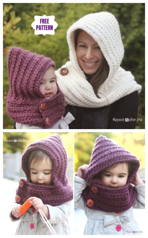 DIY Hooded Crochet Cowl Scarfie Free Pattern