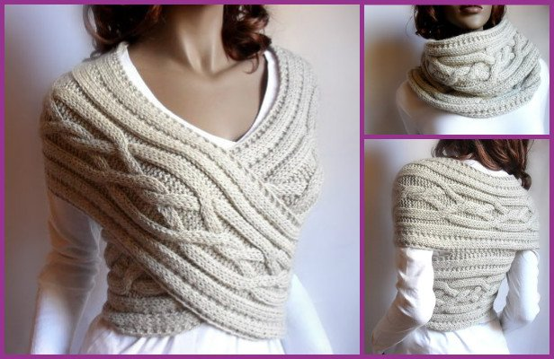 DIY cable knit sweater cowl vest Waistcoat pattern - video